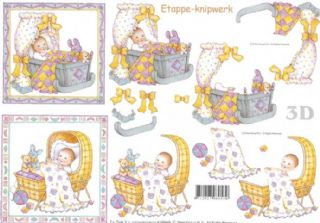 Baby In Cradle Designs 3d Decoupage Sheet